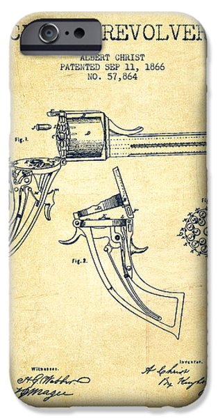 Pistol iPhone Cases - Christ revolver Patent Drawing from 1866 - Vintage iPhone Case by Aged Pixel