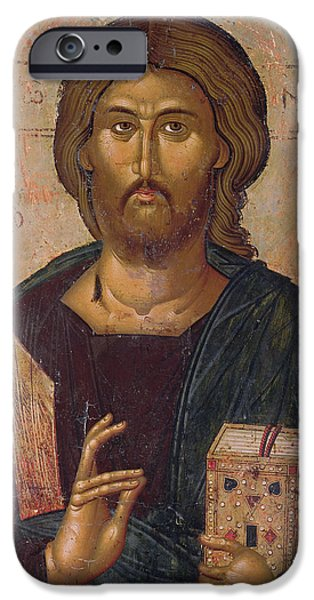 Orthodox Paintings iPhone Cases - Christ the Redeemer iPhone Case by Byzantine School