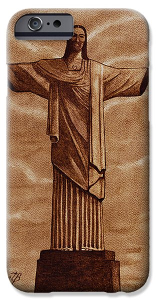 Jesus Artwork iPhone Cases - Christ The Redeemer Statue original coffee painting iPhone Case by Georgeta Blanaru