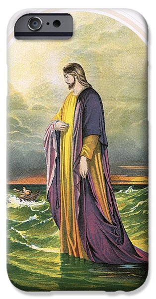 Miracle iPhone Cases - Christ walking on the sea iPhone Case by English School
