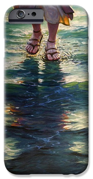 Christ Walking On Water iPhone Cases - Christ Walking On The Water iPhone Case by Victor Gladkiy