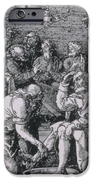 Bathing iPhone Cases - Christ washing Peters feet iPhone Case by Albrecht Durer or Duerer