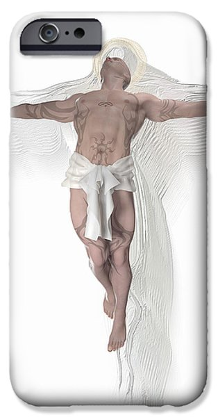 Crucifix Drawings iPhone Cases - Christ weightless iPhone Case by Joaquin Abella