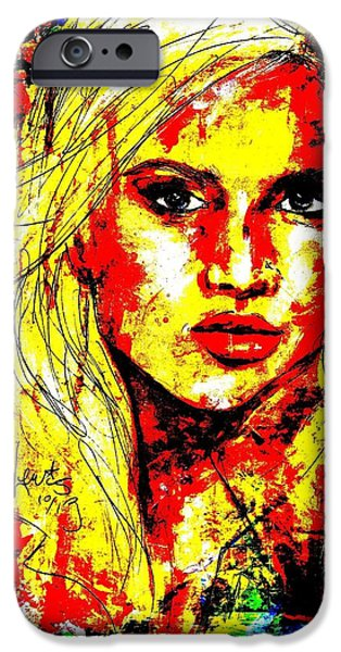 Beautiful Faces Paintings iPhone Cases - Christal iPhone Case by P J Lewis