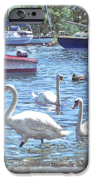 Boats In Water Paintings iPhone Cases - Christchurch Harbour Swans And Boats iPhone Case by Martin Davey