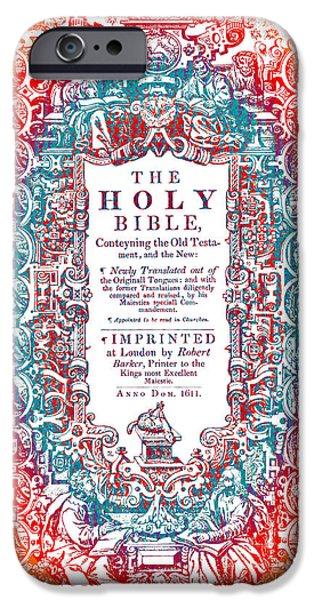 King James iPhone Cases - Christian Art- Modern Art Cover of 1611 King James Bible iPhone Case by Mark Lawrence