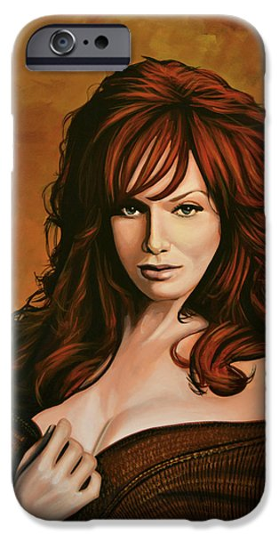 Fall iPhone Cases - Christina Hendricks iPhone Case by Paul  Meijering