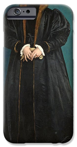 Mourning iPhone Cases - Christina Of Denmark 1522-90 Duchess Of Milan, Probably 1538 Oil On Panel iPhone Case by Hans Holbein the Younger