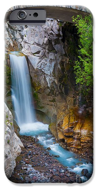 Creek iPhone Cases - Christine Falls and Bridge iPhone Case by Inge Johnsson