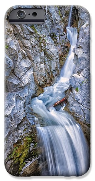 Pacific Northwest Rivers iPhone Cases - Christine Falls in Mount Rainier National Park iPhone Case by Adam Romanowicz