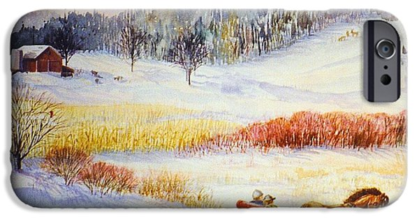 Best Sellers -  - Red Barn In Winter iPhone Cases - Christines Ride iPhone Case by Marilyn Smith