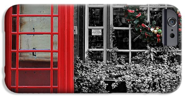 Modern World Photography iPhone Cases - Christmas - The Red Telephone Box and Christmas Wreath III iPhone Case by Lee Dos Santos