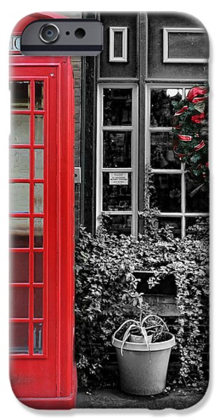 Christmas - The Red Telephone Box and Christmas Wreath III iPhone Case by Lee Dos Santos