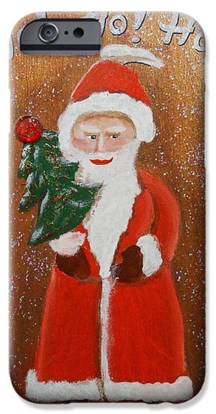 Business Paintings iPhone Cases - Christmas 013 HoHoHo iPhone Case by Gregory Otvos