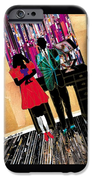 Jacob Lawrence iPhone Cases - Me and Carol  iPhone Case by Everett Spruill