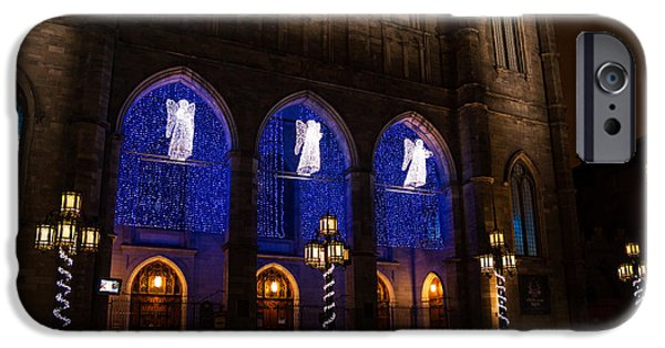 Night Lamp iPhone Cases - Christmas Angels - Notre-Dame de Montreal Basilica iPhone Case by Georgia Mizuleva