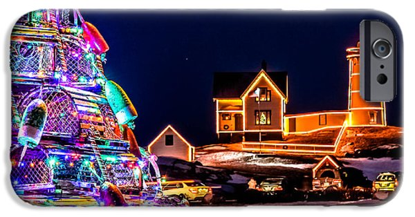 Nubble Lighthouse iPhone Cases - Christmas At Nubble Light iPhone Case by Scott Moore