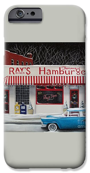 Christmas at Ray's Diner iPhone Case by Catherine Holman