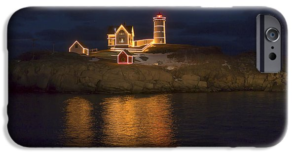 Cape Neddick Lighthouse iPhone Cases - Christmas at the Nubble iPhone Case by Steven Ralser