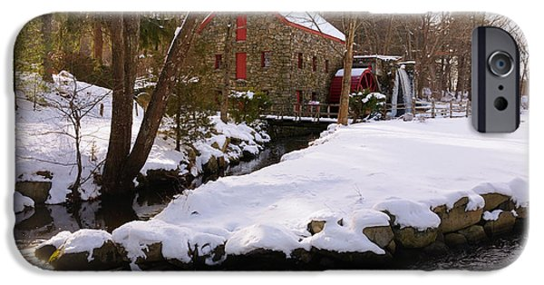 Sudbury River iPhone Cases - Christmas at the Sudbury Grist Mill - Greeting Card iPhone Case by Mark Valentine