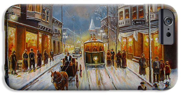 Snow Scene iPhone Cases - Christmas atmosphere in a Small town America in 1900 iPhone Case by Gina Femrite