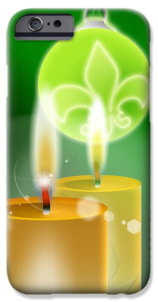 Christmas Greeting iPhone Cases - Christmas Background iPhone Case by Stefano Senise