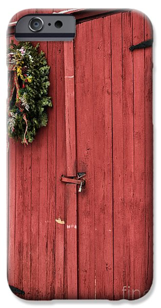 Old Barn Poster Photographs iPhone Cases - Christmas Barn iPhone Case by John Rizzuto