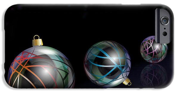 Glass Reflecting iPhone Cases - Christmas baubles reflected iPhone Case by Jane Rix