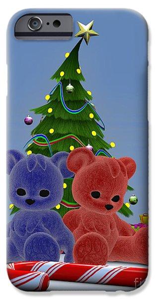 Christmas Eve Digital Art iPhone Cases - Christmas Bears 2 iPhone Case by Alexander Butler