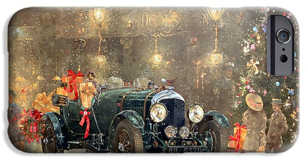 Old-fashioned iPhone Cases - Christmas Bentley iPhone Case by Peter Miller
