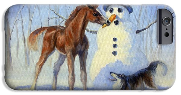 Winter Scene iPhone Cases - Christmas Bounty iPhone Case by Jeanne Newton Schoborg