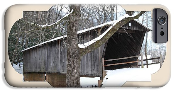 Covered Bridge Mixed Media iPhone Cases - Christmas Bridge iPhone Case by Living Waters Photography