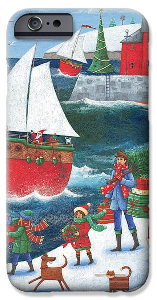 Father Christmas iPhone Cases - Christmas By The Sea iPhone Case by Peter Adderley