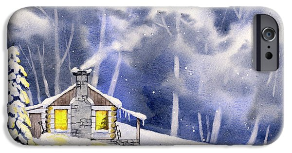 Cabin Window Paintings iPhone Cases - Christmas Cabin iPhone Case by Alina Kurbiel