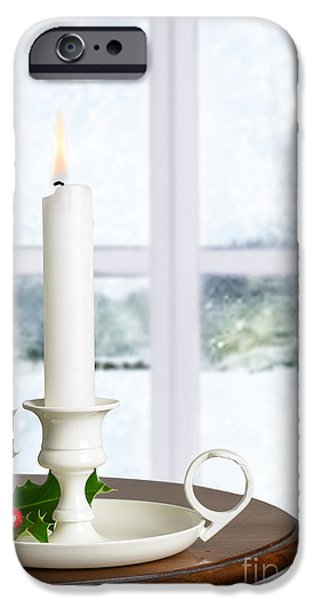 Snow Scene iPhone Cases - Christmas Candle iPhone Case by Amanda And Christopher Elwell