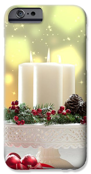 Wreath iPhone Cases - Christmas Candle Decoration iPhone Case by Amanda And Christopher Elwell