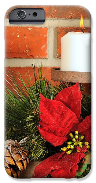 Christmas candle iPhone Case by Kenneth Sponsler