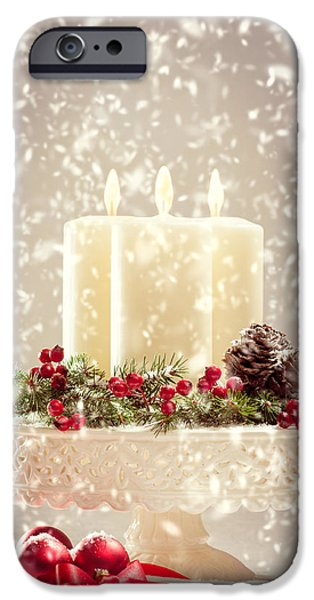 Berry iPhone Cases - Christmas Candles iPhone Case by Amanda And Christopher Elwell