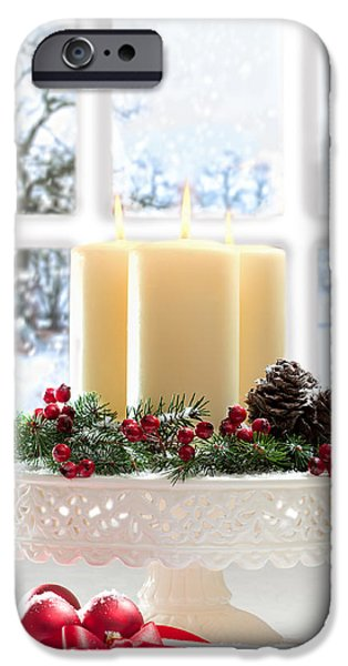 Snow Scene iPhone Cases - Christmas Candles Display iPhone Case by Amanda And Christopher Elwell