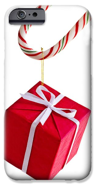 Christmas candy cane and present iPhone Case by Elena Elisseeva