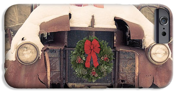 Wreath iPhone Cases - Christmas Car Card iPhone Case by Edward Fielding