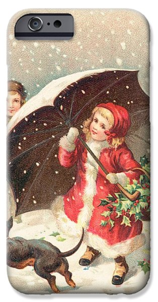 Cards Vintage iPhone Cases - Christmas card iPhone Case by British School