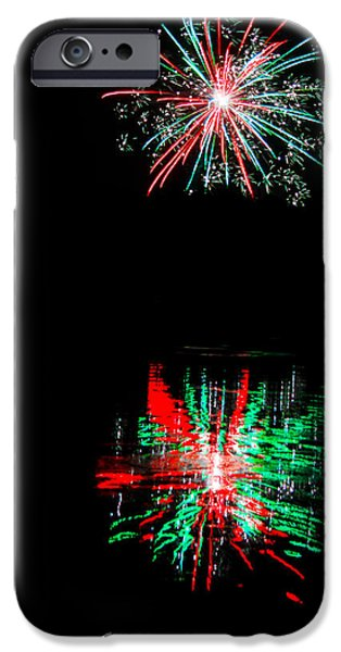 Christmas Greeting iPhone Cases - Christmas Card Fireworks iPhone Case by Parker Cunningham
