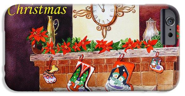 Christmas Greeting iPhone Cases - Christmas Card iPhone Case by Irina Sztukowski