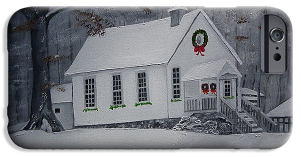 Christmas Greeting iPhone Cases - Christmas Card - Snow - Gates Chapel iPhone Case by Jan Dappen