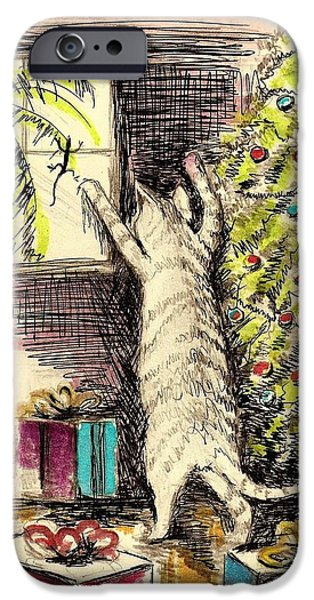 Christmas Greeting Pastels iPhone Cases - Christmas Cat iPhone Case by David Francke