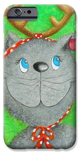Christmas Cat iPhone Case by Sonja Mengkowski