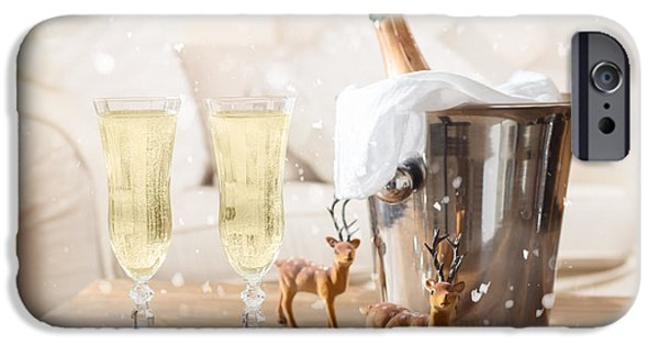 Ice Wine iPhone Cases - Christmas Champagne iPhone Case by Amanda And Christopher Elwell