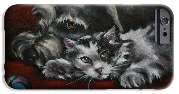 Animal Portraiture iPhone Cases - Christmas Companions iPhone Case by Cynthia House