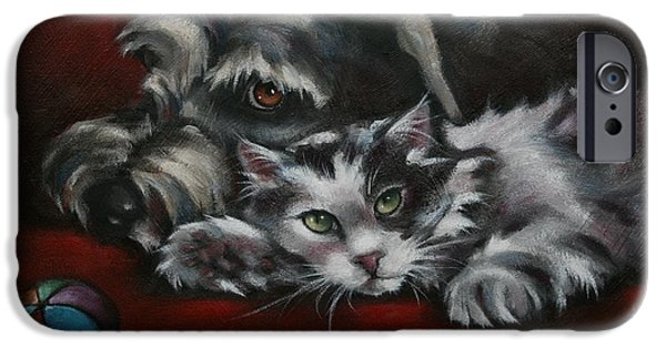Feline Art iPhone Cases - Christmas Companions iPhone Case by Cynthia House